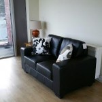 Sofa Kilmainham, Clean Lines, Sleek Black Leather to tie in with Sideboard and Dining Table